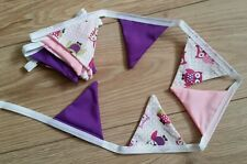 Owl  Bunting purple/pink-mini 10cm by 10cm