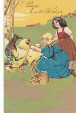 EASTER – Two Girls and Chickens PFB Postcard - 1907