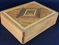 Superbe boite à bijoux à cartes ou cigare - Bois et marqueterie géométrique