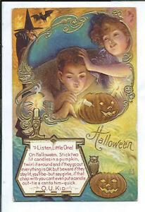 Halloween Postcard JOL Witch Bat Owl