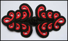 XL blk red Chinese Frogs fasteners closure buttons 2 hand made Cheongsam Orient