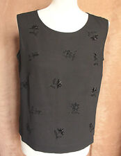 Sleeveless Black Mesh Top with Black Beading - Size 12 - Focus