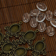 18x13mm Transparent Clear Glass Cabochons and Alloy Pendant Cabochon Settings