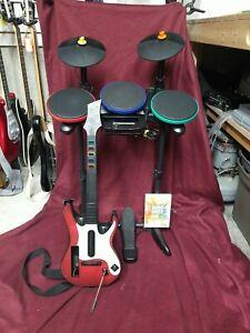 Nintendo Wii Band Hero Bundle | Drum Set, Guitar, Mic, Game | Tested-Clean
