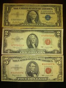 1963✨ $5 DOLLAR RED SEAL - 1953 $2 RED SEAL - 1957 ✨$1 BLUE SC **