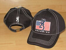 Browning Rifles Patriot American Flag Hunting Adjustable Hat Cap Men's - Black