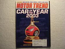 Motor Trend 2003 January SUV's Lexus Land Rover Lincoln Dodge Caravan Honda Kia