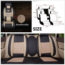 5-Seat Car Off-Road Cooling Mesh+PU Leather Seat Cover Cushion Pillow Front&Rear