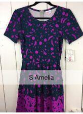Lularoe Small S Amelia Dress Dark Blue Purple Floral NEW NWT