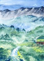 Original Aquarell Gemälde A5 Gebirge Landschaft Wald Fluss Nebel Studio Sterna