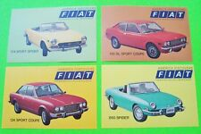 4 Diff 1975 FIAT CAR FACTORY / DEALER POSTCARDS Unposted w/ SPIDERS Xlnt+ USA ED
