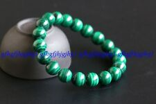 8/10/12MM Natural Malachite Round Beads Stretch Bangle Charm Bracelet  7.5''