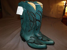 Corral R1093 Cowgirl Black Sequin Turquoise Crystal Butterfly Boots Sz 8.5M