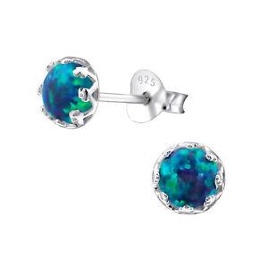 925 Sterling Silver Peacock Opal Gemstone Circle Stud Earrings