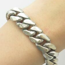 925 Sterling Silver Thick Heavy Wide Men's Cuban Link Bracelet 9""