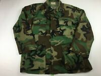 VTG ARMY WOODLAND CAMO FATIGUE BLOUSE COAT SIZE LARGE LONG OAKLEAF