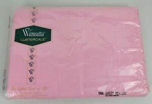 Vintage NIP Wamsutta Lustercale Percale Pink Queen Flat Sheet 90x120