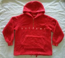 Supreme Sherpa Fleece Pullover Red Hoodie Large