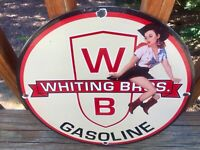 """Vintage  WB Gas Whiting Bros. Gasoline Heavy Porcelain Sign 12"""" Gas & Oil Sign"""