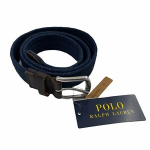 "Polo Ralph Lauren Mens Stretch Waxed Cotton Braided 1 1/4"" Belt Navy Blue S"