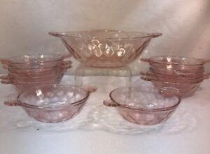 Vtg 11pc Depression Ware Pink Glass Scalloped Sherbet Dish Dessert Serving Bowl