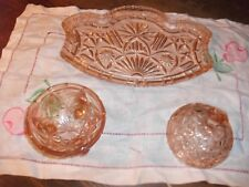 Vintage (Art Deco) 2 piece pink cut Glass Dressing Table trau andbowl with lid
