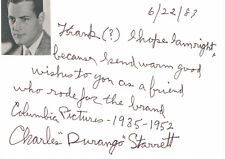 """Charles Durango Starrett 1903-86 autograph signed card 4""""x6"""" w.attached picture"""