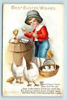 ELLEN CLAPSADDLE ARTIST SIGNED TRUE VINTAGE EASTER POSTCARD - CHILD PAINTS EGGS