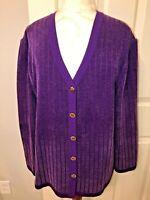 ST. JOHN Collection by Marie Gray purple knit cardigan jacket sweater blazer  14