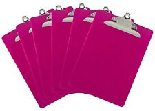 Plastic Clipboard Opaque Color Letter Size Standard Clip (Pack of 6) (Pink)