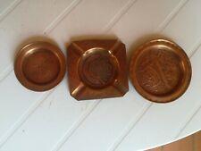 Lot 3 Cendriers Cuivre Ancien, antiquité, oriental, Tunisie, vintage