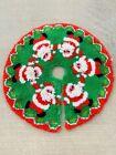 Vintage Handmade Santa Latch Hook Rug Yarn 34' Christmas Tree Skirt Fluffy Beard