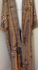 Hand made authentic Japanese Kimono silk robe long jacket kaftan jacket