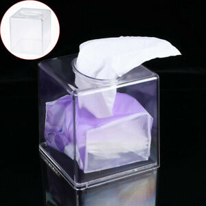 Square Acrylic Clear Tissue Box Cover Home Car Office Paper Storage Holder Case