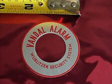 "NEW OLD STOCK WURLITZER SECURITY VANDAL ALARM DECAL 2"" Round Metal Jukebox"