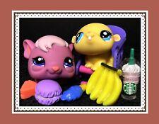 Littlest Pet Shop #1773 Pink Mauve GUINEA PIG #1774 Yellow HAMSTER Accessories
