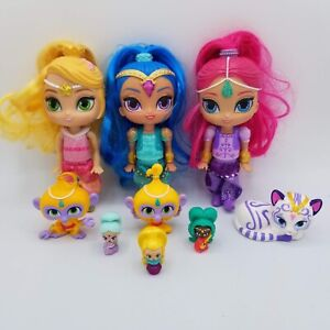 """Mattel 2015 Shimmer And Shine Dolls 6"""" With Some Pets And Teenie Tiny Lot Of 9"""