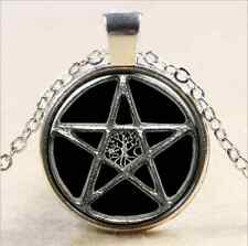 Glass Chain Pendant Necklace Vintage star Cabochon Silver plated