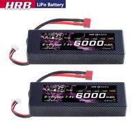 2pcs HRB 7.4V 2S 6000mAh LiPo Battery 60C Deans Hardcase for RC Car Truck Buggy