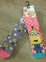 Girls  2 x Pink Lilac Despicable Me Minion  ladies Socks Size 9-12  12.5-3.5 New