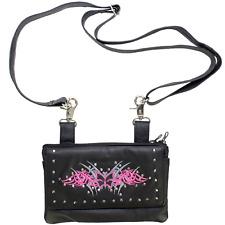 Womens Leather Crossbody Bag Shoulder Purse Small Handbag Pink Gray Butterfly