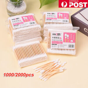 Disposable Cotton Swabs Wooden Handle Makeup Cosmetic Stick Ear Buds Cleaning AU