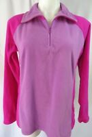 Columbia Womens Large Top Fleece Pink Purple Zip Neck L/S Pullover Stretch Soft