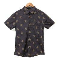 Billabong Men's Button Up Shirt Size M Paisley Pattern Short Sleeve 100%Cotton