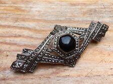 Art Deco Vintage Apariencia Broche De Barra/Negro Imitación Onyx/Tono Plata/Pin/Retro/llamativo