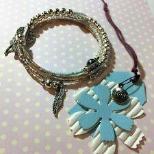 HOPE bracciale memory perline sfere azzurro rosa piuma libelle idea regalo cod21