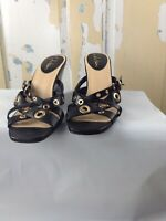 WOMEN COLE HAAN NIKEAIR BLACK WEDGE HEEL STRAPPY SLIP ON SANDALS SZ 10B