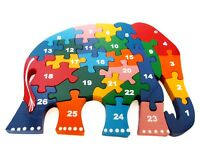 ABC Wooden Jigsaw Puzzle Elephant for Kids numbers 1-26
