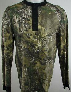 Real Tree Men's Camo Half Button Up Long Sleeve Henley