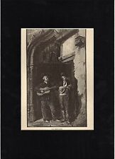 Antique matted print :Toledo, Spain /musicians serenades / grabado antiguo 1882